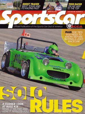Jeff Kiesel on cover of Sportscar magazine
