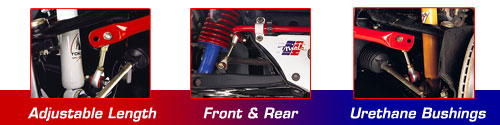 Racing Beat Miata Sway Bars: Adustable Length, Front and Rear, Urethane Bushings