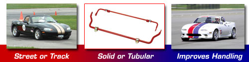 Racing Beat Miata Sway Bars: Street or Track, Solid or Tubular, Improves Handling