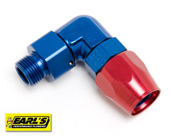 : Oil System : Earls Hose Fitting Hose end to 90 degree 18mm Male