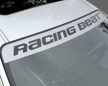 Mazda Protege Performance Parts : Decals & Promo Items : Racing Beat Windshield Decal Logo - White